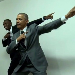 "USA President Barack Obama with Jamaica sprint star Usain Bolt strikes a pose ""To The World"" during the visit of the President in Jamaica April 8-9, 2015."